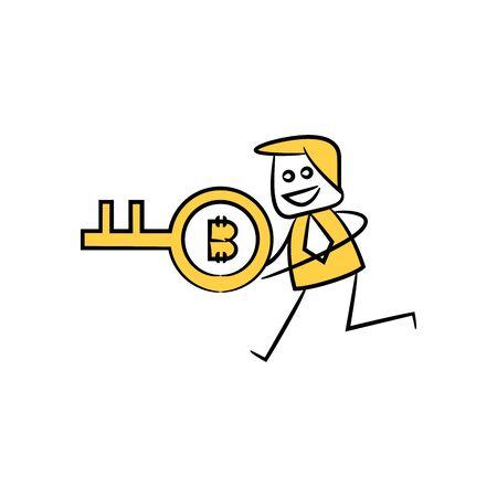 businessman holding bitcoin key yellow doodle stick figure design Ilustração Vetorial
