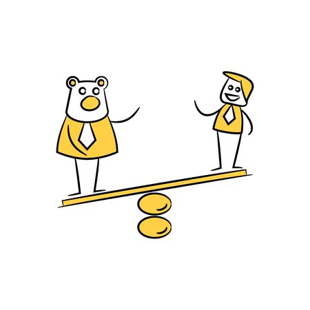 businessman and bear on balance scale yellow doodle stick figure