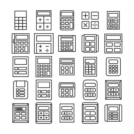 calculator icons vector set thin line design