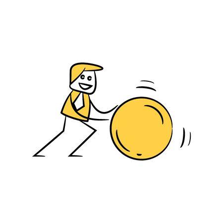 businessman pulling ball yellow stick figure