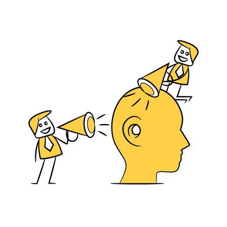 business men using megaphone for propaganda concept yellow stick figure 向量圖像