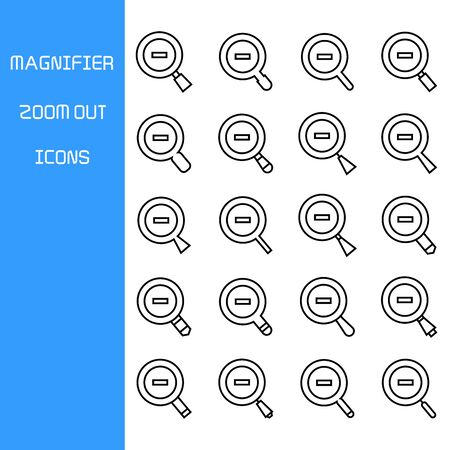 zoom out magnifier glass icons set Vettoriali