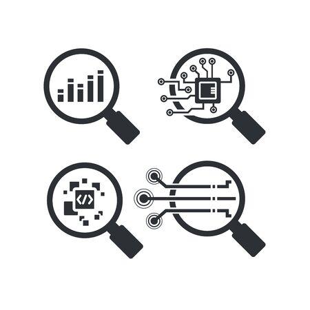 magnifier glass and graph for data analytics concept icons Vektoros illusztráció