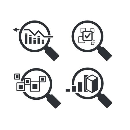 magnifier glass and graph for data analytics concept icons