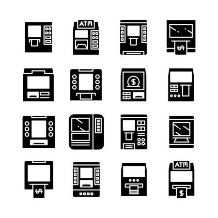 ATM, automatic teller machine, money machine icons Vector Illustration