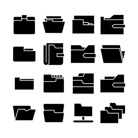 folder and archive icons set vector Vector Illustratie