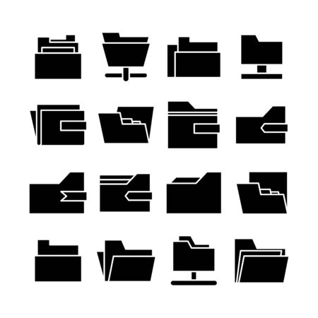 folder and archive icons set vector