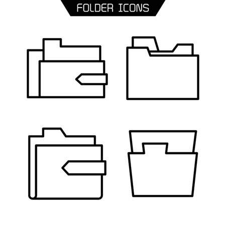 folder and archive icons set line vector
