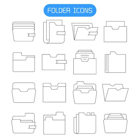 folder and archive icons set thin line