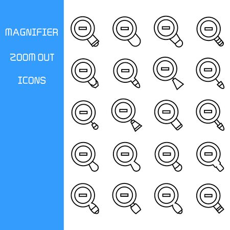 zoom out magnifier glass icons set