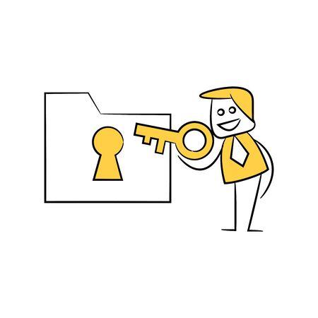 businessman using key to encrypt file yellow stick figure