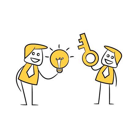 businessmen holding key and light bulb yellow stick figure