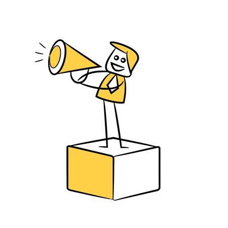 businessman or marketer using megaphone and standing on box yellow stick figure