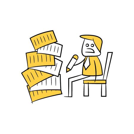 businessman writing document and pile of documents, hard work concept yellow stick figure