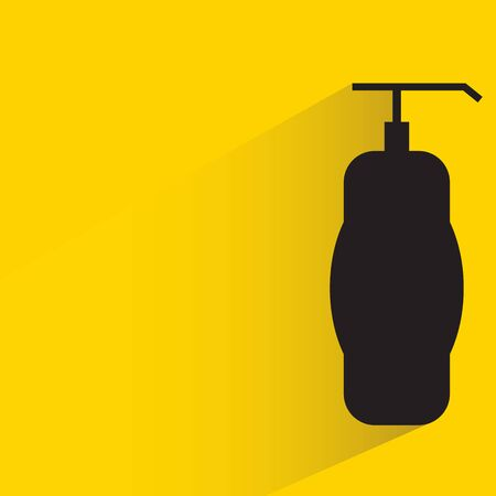 spray bottle with drop shadow in yellow background