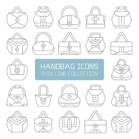 handbag and pouch icons thin line design