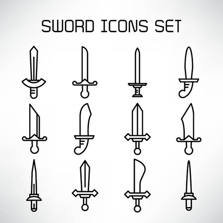 sword and rapier icons set line design