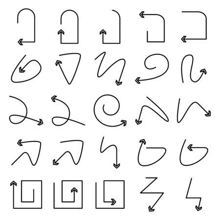 arrow bow icons set line design Vectores