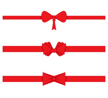 red ribbons, red bows for gift and card decoration Ilustracje wektorowe