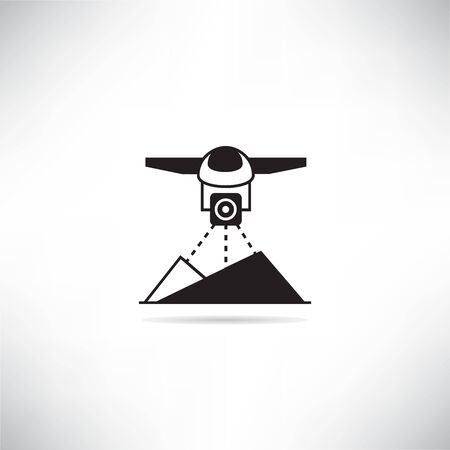 drone scanning land farm and agriculture product for smart farm concept icon