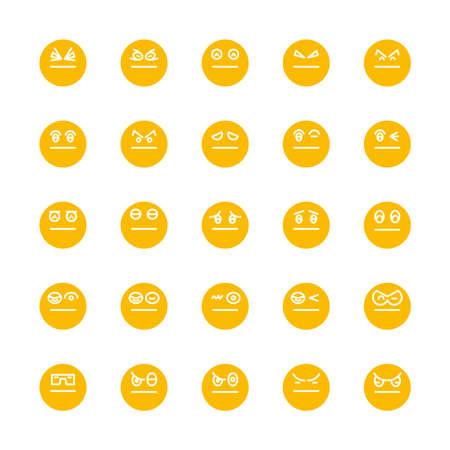 yellow emoticon, emoji circle face set