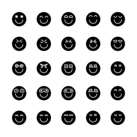 emoticon, emoji circle face set