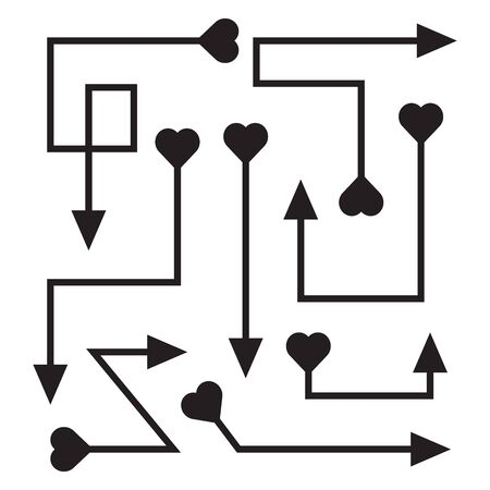 curved and doodle arrows heart tail vector set