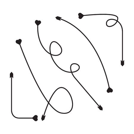 arrows heart bow head vector set Vectores