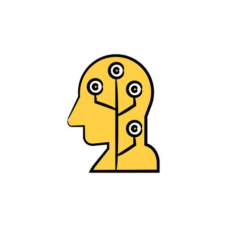 human head and circuit, artificial intelligence concept yellow hand drawn theme Illustration