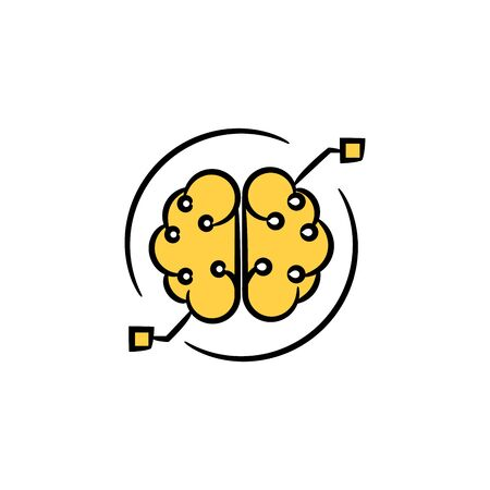 brain and neuron for machine learning concept yellow hand drawn theme