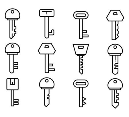 key icons line vector set