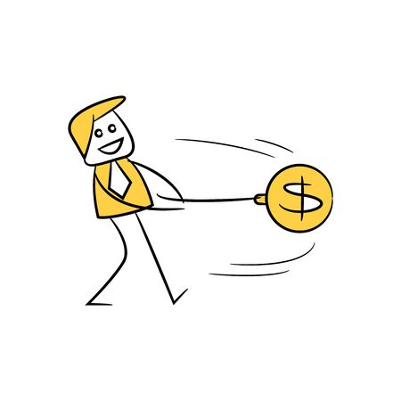 businessman holding dollar pendulum, financial risk concept