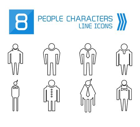 people, male icons thin line vector set