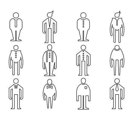 people, male icons line vector set