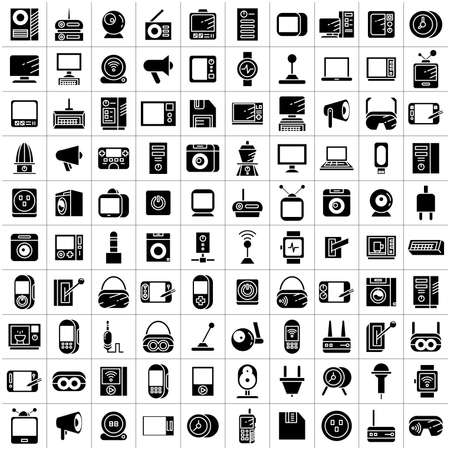 big set of electronic device and appliance icons