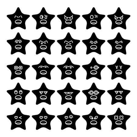 star emoticons, emoji icons set