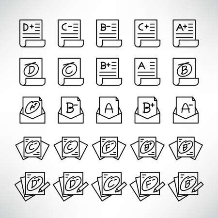 grade result or exam result icons line vector set Ilustracje wektorowe