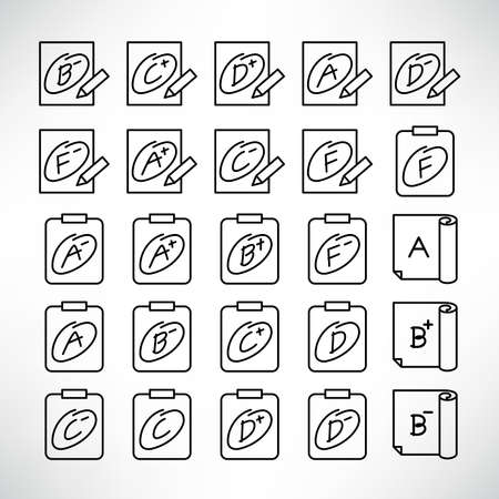 grade result or exam result icons line vector set