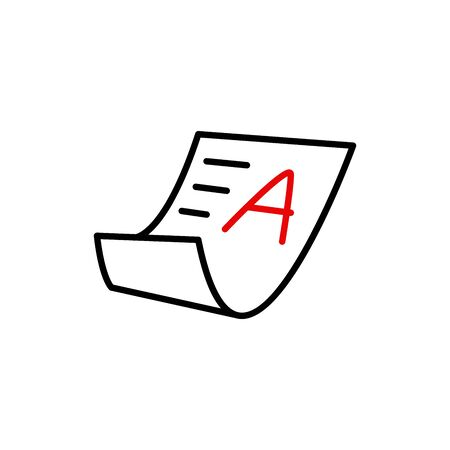 excellent grade result, exam or academic result icon vector Illustration