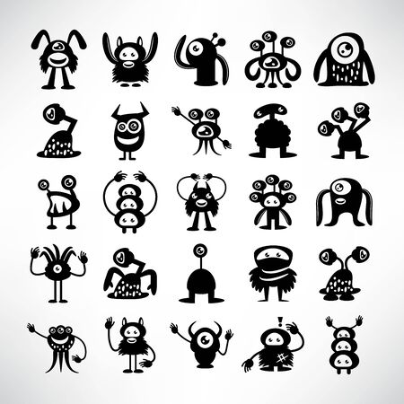 funny monster icons character vector set
