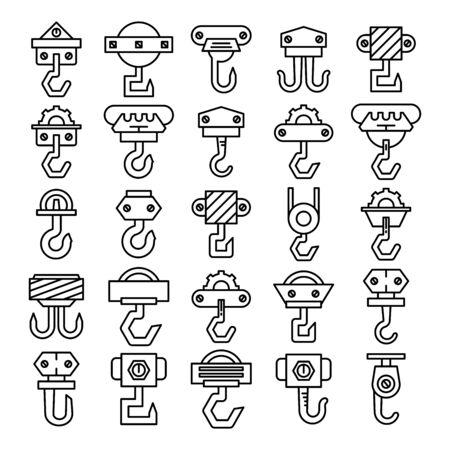crane hook and hoist icons line set