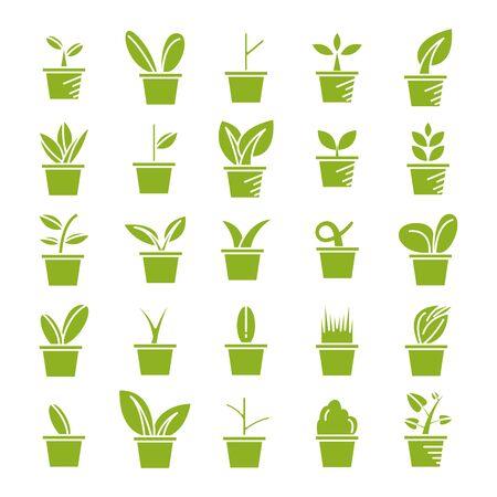 green pot plant icons set vector Vetores
