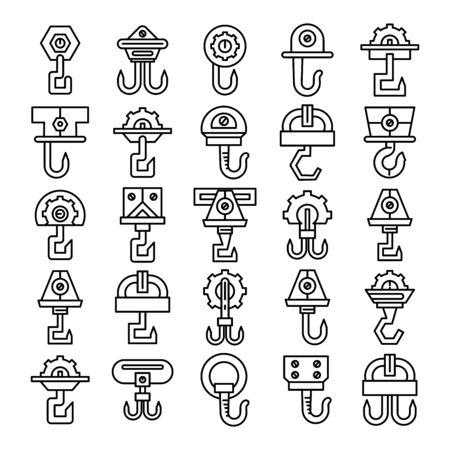 set of vector crane hook and hoist icons line