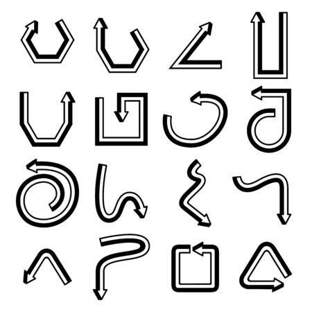 arrow icons line cuboid design set