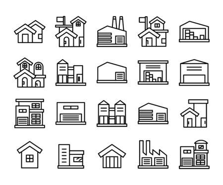 building icons set line vector Vektorové ilustrace