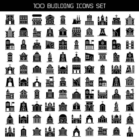 big set of building, tower city icons vector