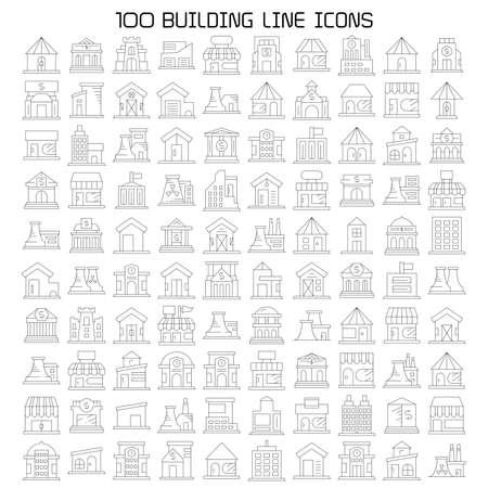 building icons line vector big set