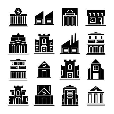 vecteur de jeu d'icônes de bâtiment et d'architecture