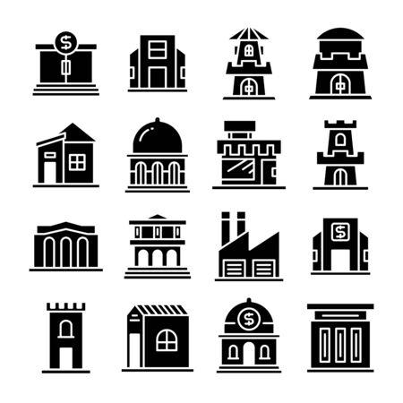 vecteur de jeu d'icônes de bâtiment et d'architecture Vecteurs