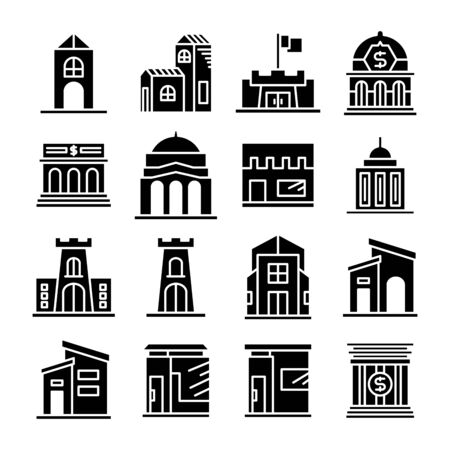 building and architectural icons set vector
